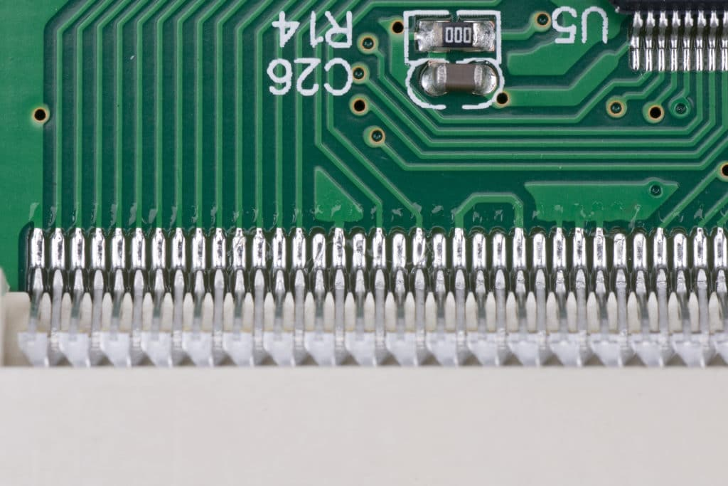 A close-up of a printed circuit board