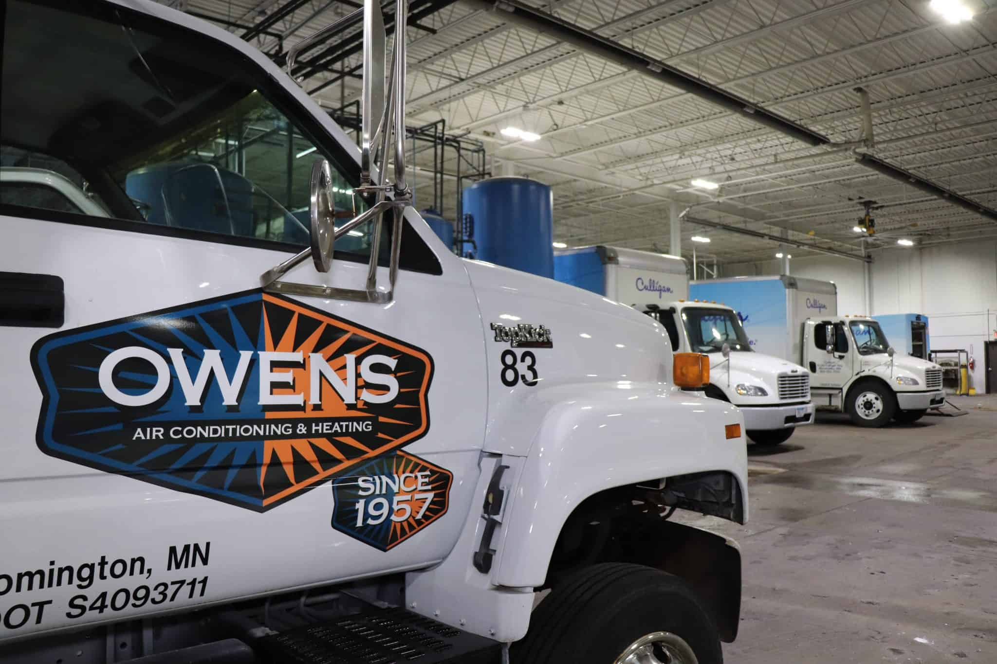 An Owens truck in a garage