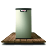 A picture of a new Lennox furnace on planks