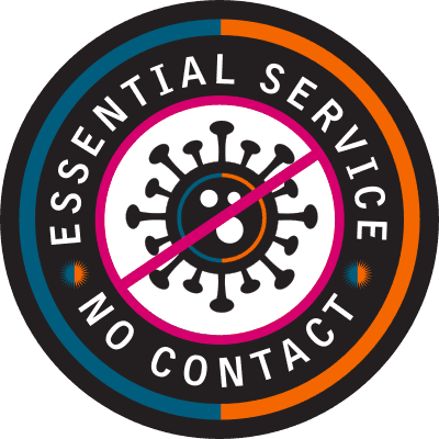 "A circular logo which says ""essential service - no contact"""