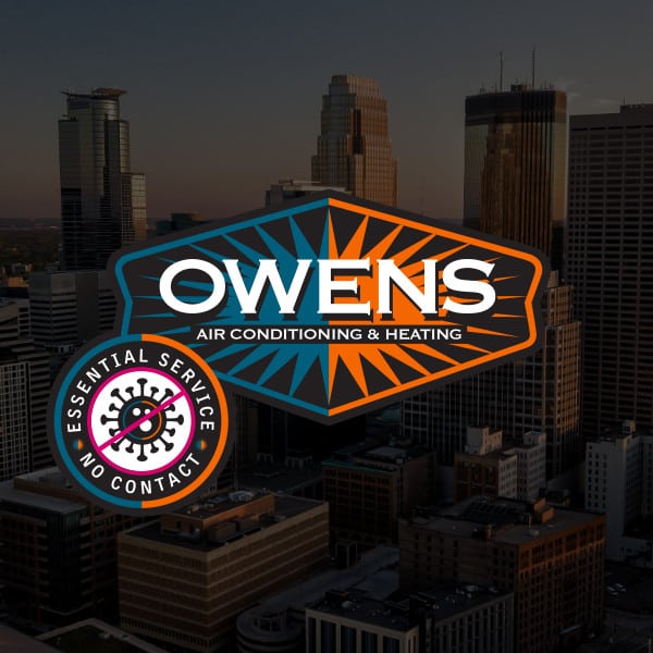 Minneapolis skyline with Owens logo superimposed